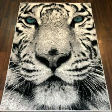 NEW TOP QUALITY TIGER DESIGN 120CMX170CM STUNNING SILVER/OFF WHITE BLUE EYES.